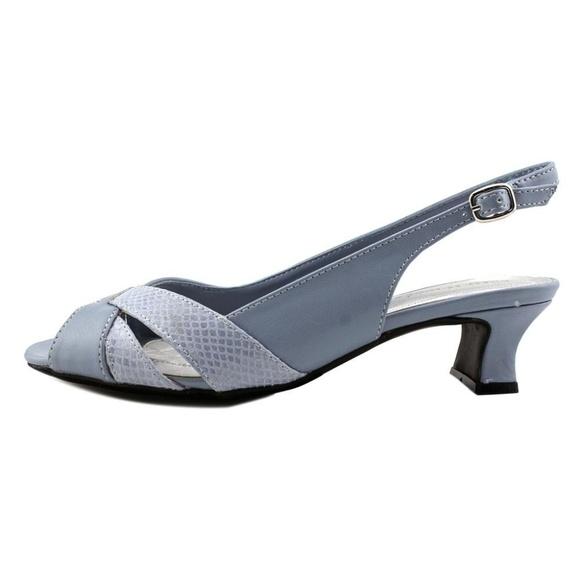 e54936ec9 Easy Street Shoes - Slingback Blue Snakeskin Strappy Kitten Heel 9 1 2
